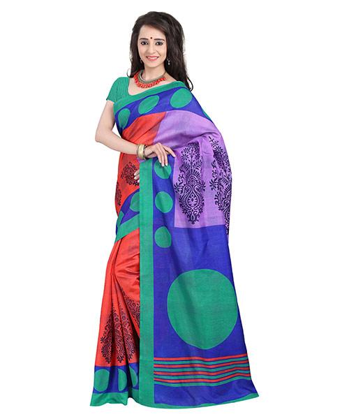 Lookslady Printed Red & Purple Bhagalpuri Silk Saree