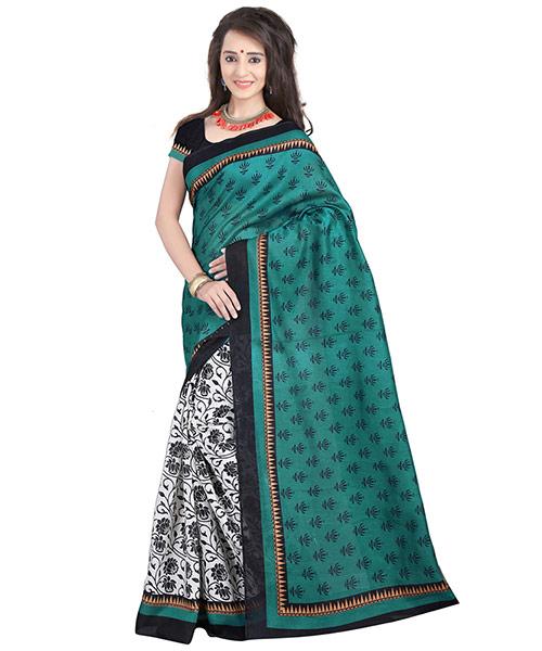 Lookslady Printed White & Turquoise Bhagalpuri Silk Saree