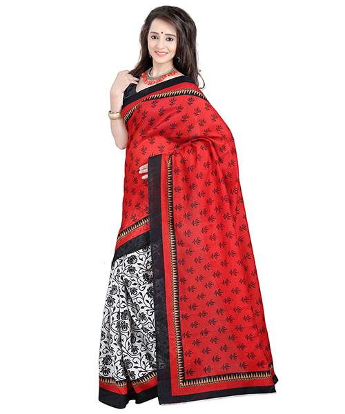 Lookslady Printed White & Red Bhagalpuri Silk Saree
