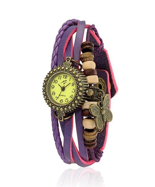 Yepme Women's Bracelet Watch - Cream/Purple
