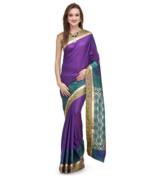 Violet Art Silk Saree With Resham Weave