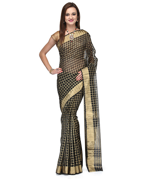 Black Cotton Silk Saree With Zaree Work