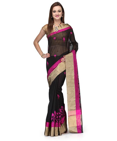 Charcoal Black Cotton Silk Saree With Electric Pink Lotus Motifs
