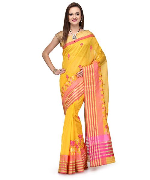 Sunshine Yellow Cotton Silk Saree With Fuchsia Pink And Zari Work