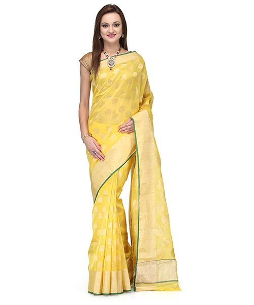 Sunshine Yellow Cotton Silk Saree With Zari Motifs