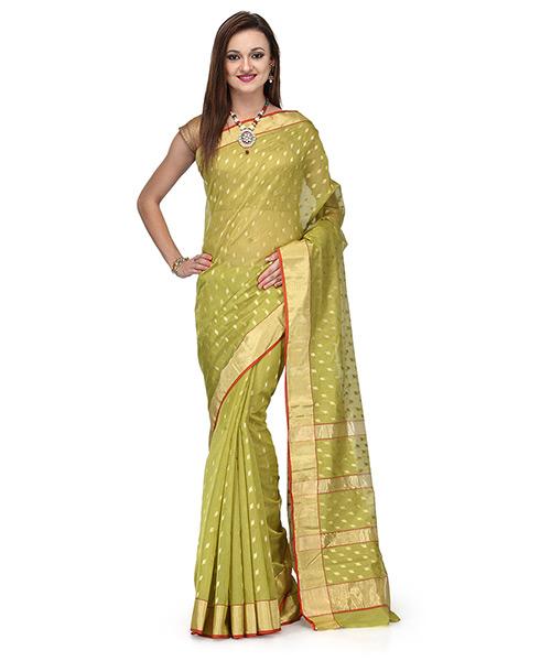 Olive Green Cotton Silk Saree With Zari Butis