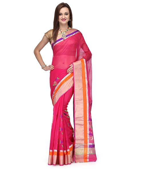 Fushsia Pink Cotton Silk Saree With Resham And Zari Work