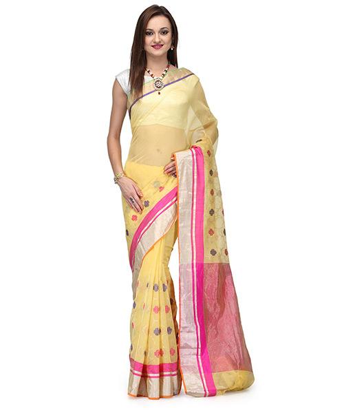 Golden Yellow Cotton Silk Saree With Resham And Zari Work