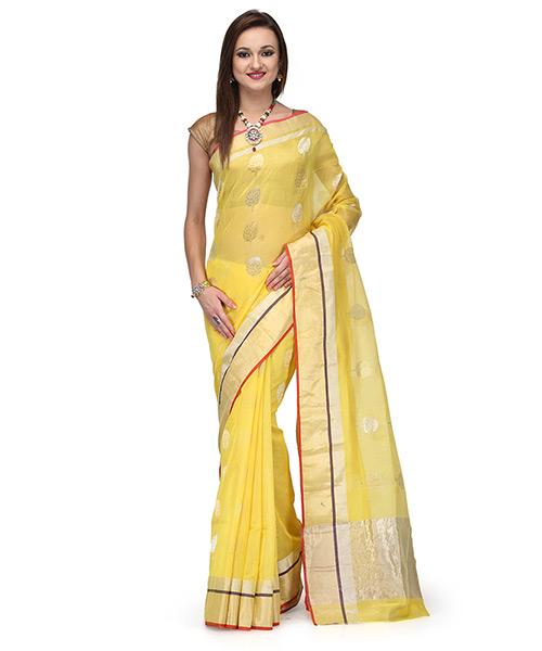 Blazing Yellow Cotton Silk Saree With Zari Work