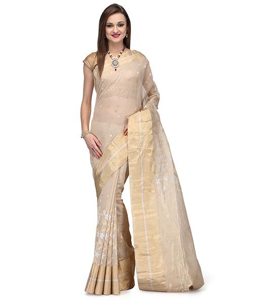 Pastel Beige Cotton Silk Saree With Resham Work