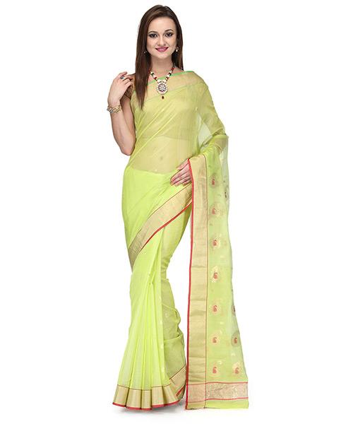 Lime Green Cotton Silk Saree With Zari Work