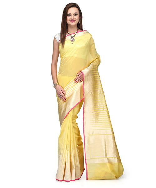 Sunshine Yellow Cotton Silk Saree With Temple Border