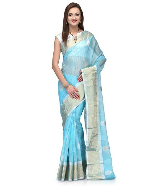 Turquoise Blue Tussar Silk Saree With Subdued Zari Work